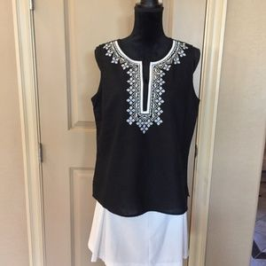Talbots linen embroidered top